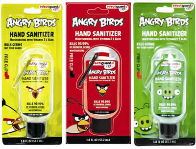 Angry Birds Hand Santizer with clip