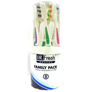 Dr. Fresh Dailies Family Pack 6 toothbrush pack