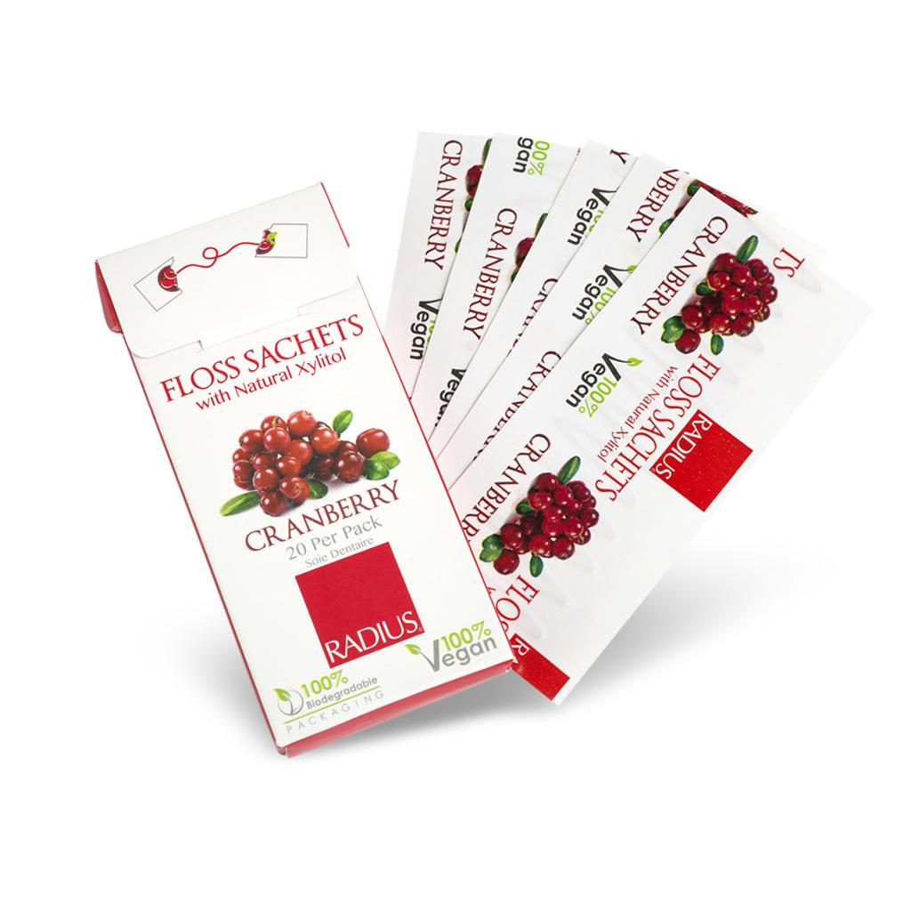 Radius Vegan Xylitol Floss Sachets (20 per pack cranberry)