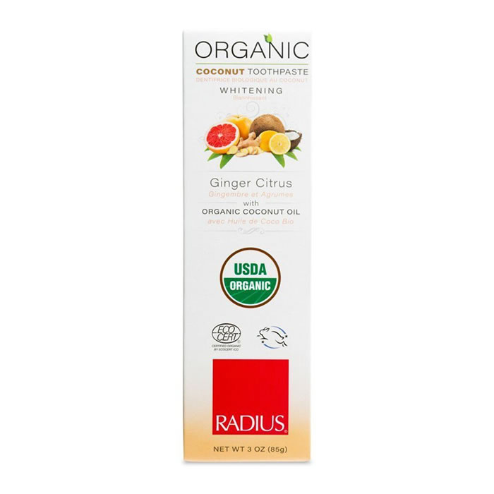 Radius Organic Ginger Citrus Whitening Toothpaste 3 oz (85g)